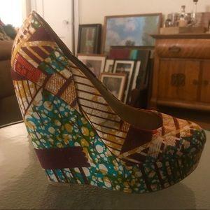 Mixed print wedge platform heels - size 8